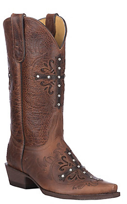 Cavender's By Old Gringo Women's Deep Tan with Cross Western Snip Toe Boots