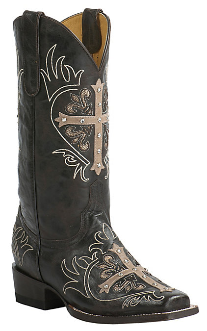 1ab3934ad5c Cavender's by Old Gringo Women's Vintage Chocolate Goat with Tan Cross  Square Toe Western Boots