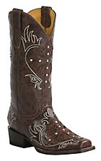 Cavender's by Old Gringo Women's Vintage Brown Goat with Cross Overlay Square Toe Western Boots