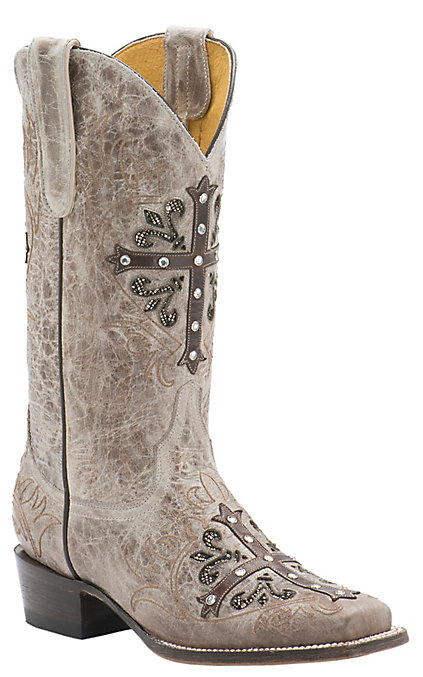 6d70d99fb54 Cavender's by Old Gringo Women's Vintage Tan Goat with Chocolate Cross  Square Toe Western Boots