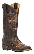Cavender's by Old Gringo Women's Vintage Brown with Tan Cross Square Toe Western Boots