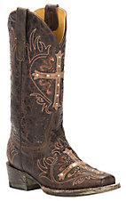 Cavender's by Old Gringo Women's Vintage Brown Goat with Tan Cross Square Toe Western Boots