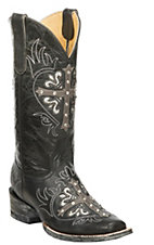 Cavender's by Old Gringo Women's Black and Grey with Bejeweled Cross Square Toe Western Boots
