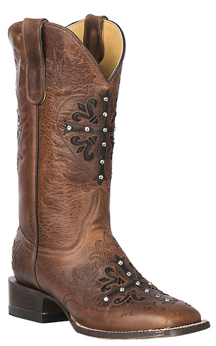 4da971a68b5 Cavender's by Old Gringo Women's Tan Frida Calf with Cross Overlay Western  Square Toe Boots