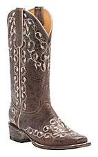 Cavender's by Old Gringo Women's Vintage Chocolate Goat with Ivory Vine Embroidery Square Toe Western Boots