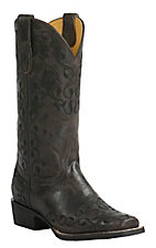 Cavender's by Old Gringo Women's Vintage Chocolate Goat with Black Vine Embroidery Square Toe Western Boots