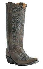 Cavender's by Old Gringo Women's Tarnished Grey Goat with Peacock Embroidery Snip Toe Western Boots