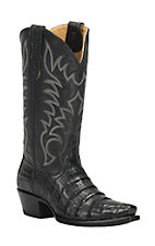 Cavender's by Old Gringo Women's Black Caiman Snip Toe Exotic Western Boots