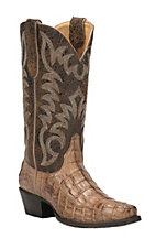 Cavender's by Old Gringo Women's Burnt Tan Caiman Snip Toe Exotic Western Boots