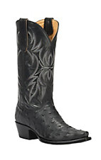 Cavender's by Old Gringo Women's Black Full Quill Ostrich Snip Toe Exotic Western Boots