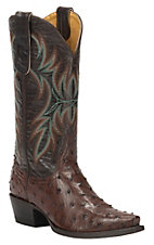 Cavender's by Old Gringo Women's Kango Brown Full Quill Ostrich Snip Toe Exotic Western Boots