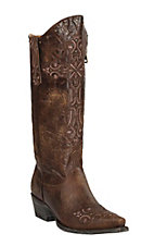 Cavender's by Old Gringo Women's Brass Vesuvio Goat with Studded Embroidery Snip Toe Western Boots