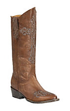 Cavender's by Old Gringo Women's Vintage Brown Goat with Cross Embroidery Round Toe Western Boots