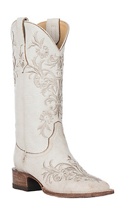 Cavender's by Old Gringo Women's Taupe with White Embroidery Western Square Toe Boots