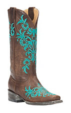 Cavender's by Old Gringo Women's Vintage Brown with Turquoise Embroidery Square Toe Western Boots