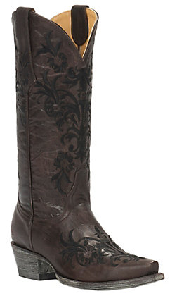 Cavender's by Old Gringo Women's Vintage Chocolate Goat with Black Vine Embroidery Snip Toe Western Boots