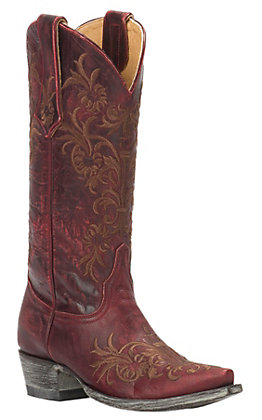 Cavender's by Old Gringo Women's Vintage Red Goat with Brown Floral Embroidery Snip Toe Western Boots