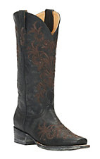 Cavender's by Old Gringo Women's Vintage Black Goat with Brown Vine Embroidery Square Toe Western Boots
