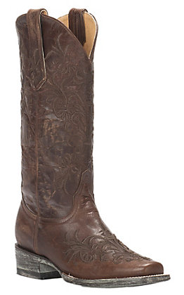 Cavender's by Old Gringo Women's Vintage Brass Goat with Brown Vine Embroidery Square Toe Western Boots