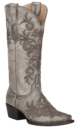 Cavender's by Old Gringo Women's Grey Leather with Dark Brown Floral Embroidery Snip Toe Western Boots