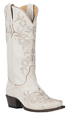 Cavender's by Old Gringo Women's Taupe with White Embroidery Western Snip Toe Boots