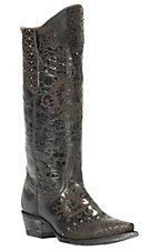Cavender's by Old Gringo Women's Chocolate Vitro Calf with Brown Lazer & Stud Design Snip Toe Western Boots