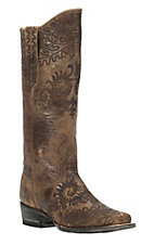 Cavender's by Old Gringo Women's Tan Paso with Brown Lazer & Studs Square Toe Western Boots