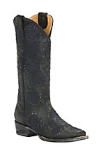 Cavender's by Old Gringo Women's Black Goat with Dark Blue Floral Embroidery & Studs Square Toe Western Boots