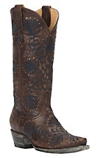 Cavender's by Old Gringo Women's Brass Goat with Navy Floral Embroidery & Studs Snip Toe Western Boots