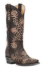 Cavender's by Old Gringo Women's Chocolate Goat with Tan Floral Embroidery & Studs Snip Toe Western Boots