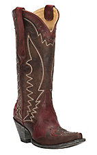 Cavender's by Old Gringo Women's Hilton Dark Red & Brown Goat Wingtip Snip Toe Western Boots