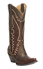 Cavender's by Old Gringo Women's Chocolate & Brass Goat Wingtip Snip Toe Western Boots