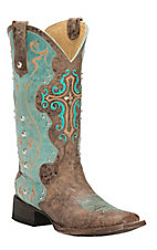 Cavender's by Old Gringo Women's Vintage Brown & Aqua Goat with Cross Square Toe Western Boots
