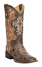 Cavender's by Old Gringo Women's Vintage Dark Brown & Tan Goat with Cross Square Toe Western Boots