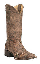 Cavender's Women's Brown Distressed with Floral Accents Western Square Toe Boots