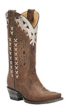 Cavender's by Old Gringo Women's Vintage Brown Goat with Southwest Design Snip Toe Western Boots