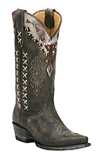 Cavender's by Old Gringo Women's Vintage Black Goat with Southwest Design Snip Toe Western Boots