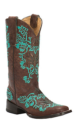 Cavender's by Old Gringo Women's Georgina Brass Goat with Turquoise Embroidery Square Toe Western Boots