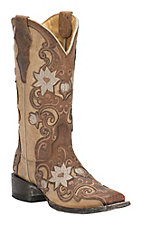 Cavender's by Old Gringo Women's Laurina Vintage Brown with Bone Floral Goat Square Toe Western Boots