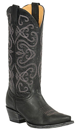 Cavender's by Old Gringo Women's Black Splendora Goat Snip Toe Western Boots