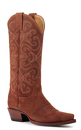Cavender's by Old Gringo Women's Cognac Brown Roughout Snip Toe Western Boot