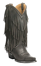 Cavender's Women's Dark Grey with Layered Fringe and Silver Studs Western Punchy Toe Boots