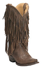 Cavender's by Old Gringo Women's Brown with Layered Fringe and Gold Studs Western Punchy Toe Boots