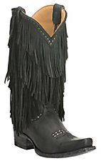 Cavender's by Old Gringo Women's Black with Layered Fringe and Silver Studs Western Punchy Toe Boots