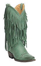 Cavender's by Old Gringo Women's Turquoise with Layered Fringe and Silver Studs Western Punchy Toe Boots