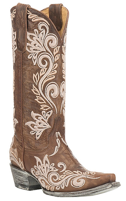 8ee056b49db Cavender's by Old Gringo Women's Brown with White Embroidery Western Snip  Toe Boots