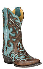 Cavender's by Old Gringo Women's Turquoise and Brass Goat w/ Inlay and Studs Western Snip Toe Boots