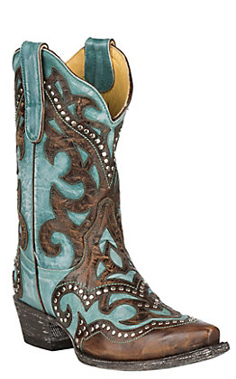 Cavender's by Old Gringo Women's Turquoise Goat with Brass Overlay and Studs Western Snip Toe Boots