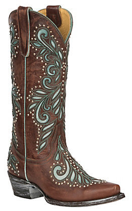 Cavender's by Old Gringo Women's Cognac with Turquoise Angie Inlay Western Snip Toe Boots