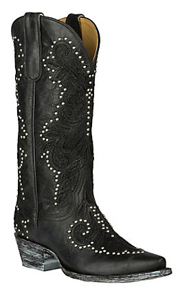 Cavender's by Old Gringo Women's Black Klondike Goat with Inlay and Studs Western Snip Toe Boots